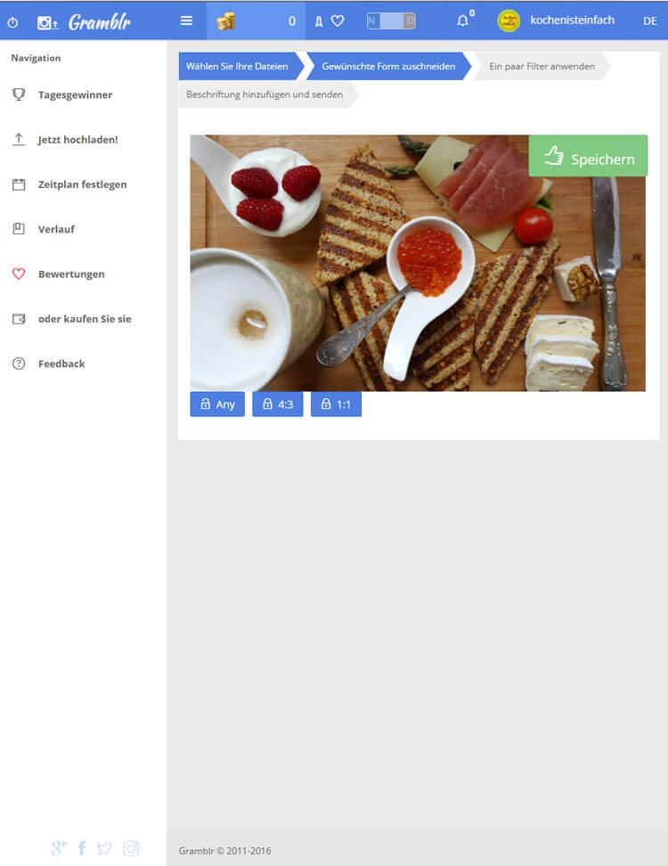 Fotoformat festlegen um Bild über Desktop bei Instagram hochzuladen